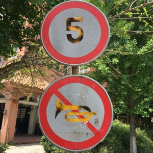 "No horn, or ""No Trumpeting"" as David declared the first time we saw this particular sign..."
