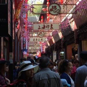 Crowded street in Shanghai near Yu Garden.